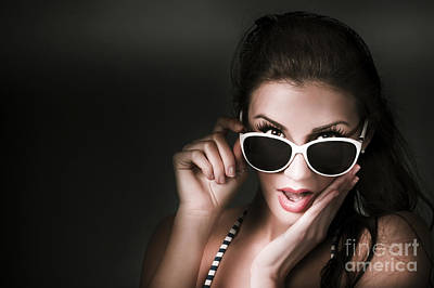 Youthful Photograph - Retro Woman In Early Twenties Expressing Shock by Jorgo Photography - Wall Art Gallery