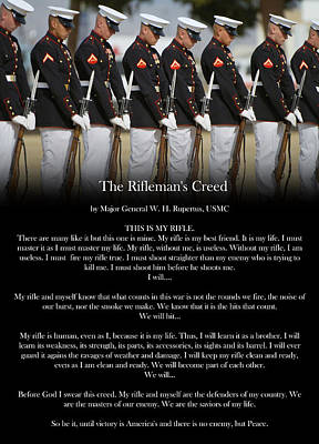 Bayonet Digital Art - Rifleman's Creed Poster by Annette Redman