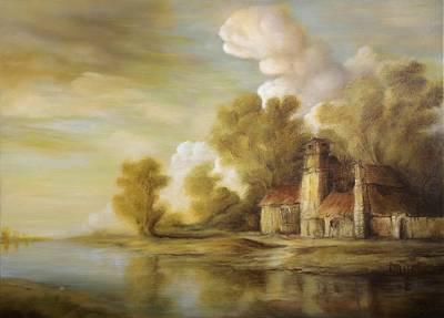 Tablou Painting - River Scene by Dan Scurtu