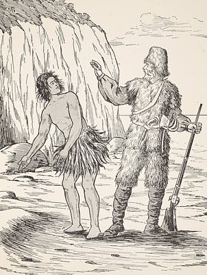 Robinson Crusoe And Friday Print by English School