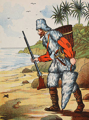 Novel Drawing - Robinson Crusoe by English School