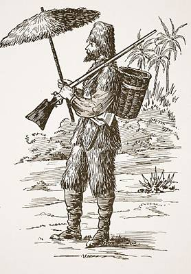 Robinson Crusoe, Illustration From The Print by English School