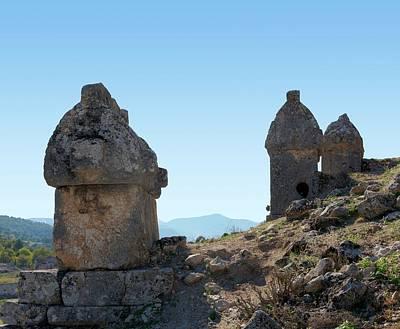 Tomb Photograph - Rock Cut Tombs At Tlos by David Parker