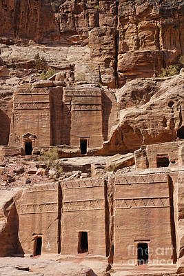 Rock Cut Tombs On The Street Of Facades Petra Jordan Print by Robert Preston