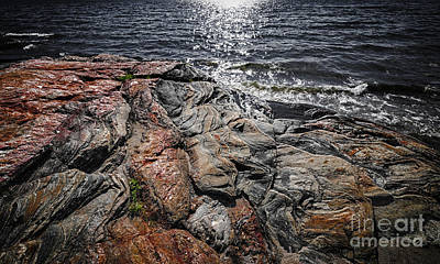 Rock Formations At Georgian Bay Print by Elena Elisseeva