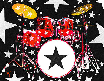 Bass Drum Mixed Media - Rock Star In Red by Russell Pierce