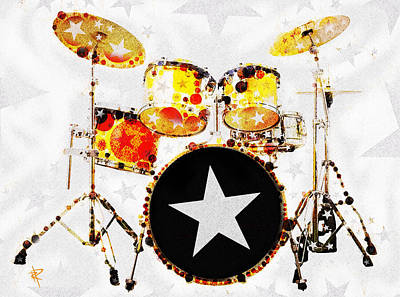 Bass Drum Mixed Media - Rock Star by Russell Pierce