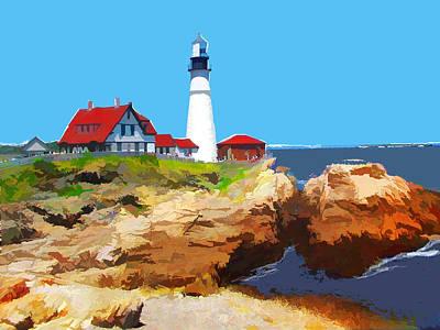 Rocky Point Lighthouse Maine Print by Elaine Plesser