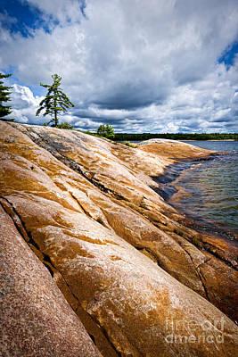 Overcast Photograph - Rocky Shore Of Georgian Bay by Elena Elisseeva