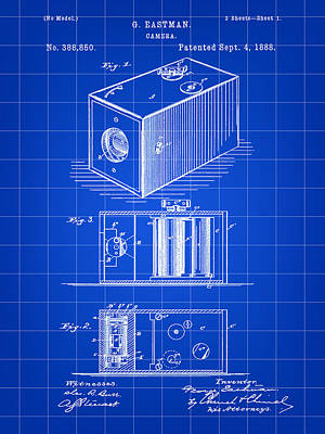 Cartridge Digital Art - Roll Film Camera Patent 1888 - Blue by Stephen Younts
