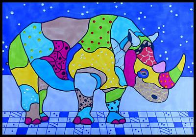 Rhinocerus Painting - Rolo The Rhino by Raela K