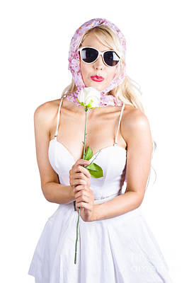 Youthful Photograph - Romantic Woman Making White Rose Wish by Jorgo Photography - Wall Art Gallery