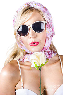 Provocative Photograph - Romantic Woman With Flower by Jorgo Photography - Wall Art Gallery