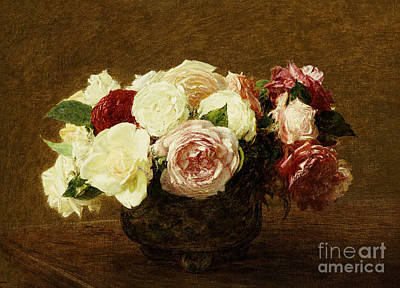 Red Flower Painting - Roses by Ignace Henri Jean Fantin-Latour
