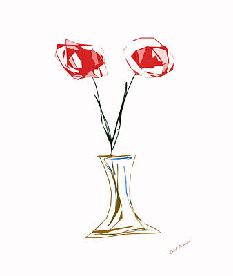 Rhythm And Blues Digital Art - Roses In Vase Vectorized Small .drawing by Sir Josef - Social Critic - ART