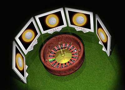 Electronic Photograph - Roulette Wheel And Bitcoins by Victor Habbick Visions