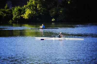 Rowing Digital Art - Rowing In Philadelphia by Bill Cannon