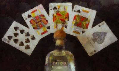 Party Card Mixed Media - Royal Flush by Dan Sproul