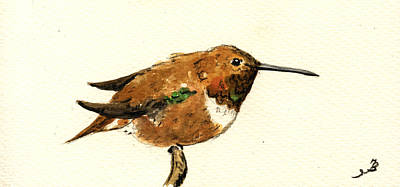Rufous Hummingbird Original by Juan  Bosco