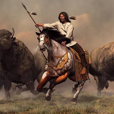 Bison Charge Digital Art - Running With Buffalo by Daniel Eskridge