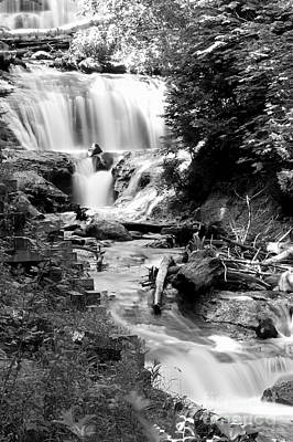 Sable Falls In Black And White Print by Twenty Two North Photography