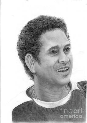 Cricket Drawing - Sachin Tendulkar by Sagar Phad