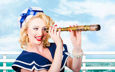 Hairstyle Photograph - Sailor Girl Pin-up Looking Through Telescope by Jorgo Photography - Wall Art Gallery