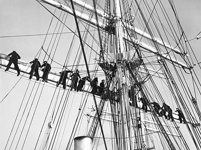 Sailors In The Rigging Print by Underwood Archives