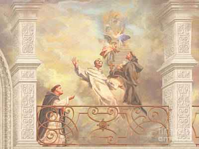 Benedict Painting - Saints Dominic Benedict And Francis Of Assisi 2 by John Alan  Warford