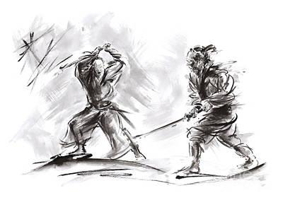 Balck Art Painting - Samurai Fight. by Mariusz Szmerdt