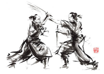 Asian Painting - Samurai Sword Bushido Katana Martial Arts Budo Sumi-e Original Ink Sword Painting Artwork by Mariusz Szmerdt