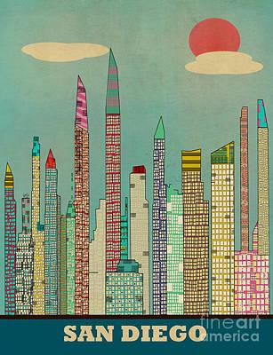 San Diego Artist Painting - San Diego Skyline by Bri B