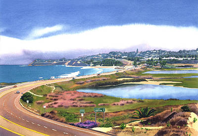 Coast Painting - San Elijo And Hwy 101 by Mary Helmreich