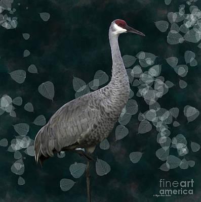 Sandhill Crane On Leaves Print by Megan Dirsa-DuBois