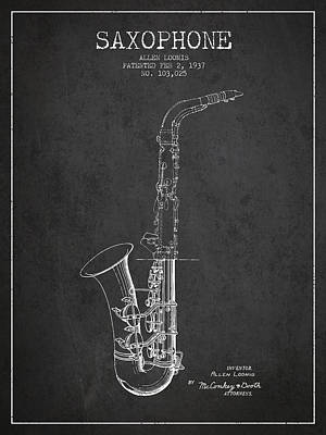 Saxes Digital Art - Saxophone Patent Drawing From 1937 - Dark by Aged Pixel