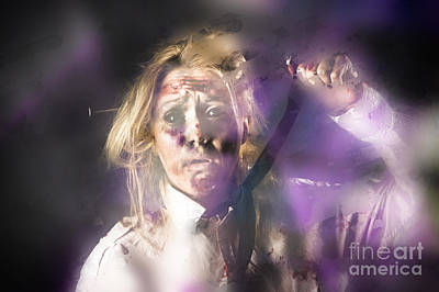 Overcoming Photograph - Scared Zombie Office Employee Stuck Behind Wall by Jorgo Photography - Wall Art Gallery