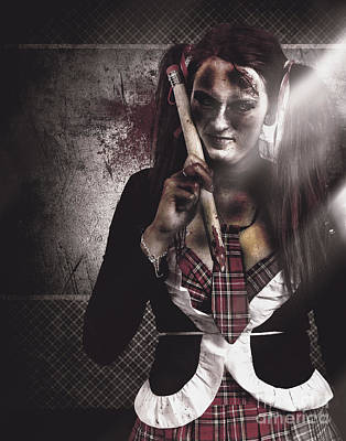 Cheerleaders Photograph - Scary Zombie School Student Holding Monster Pencil by Jorgo Photography - Wall Art Gallery