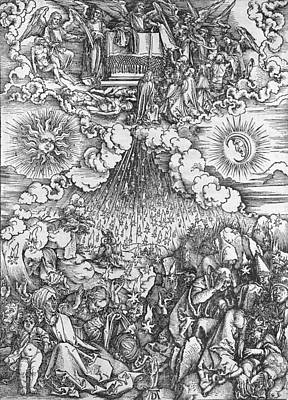 Shower Drawing - Scene From The Apocalypse by Albrecht Durer or Duerer
