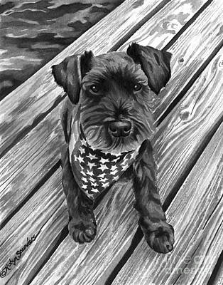 Independence Day Painting - Ragnar Black Dog by Robyn Saunders