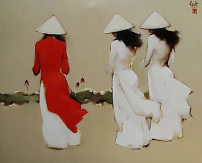 Schoolgirls With Lotus  Original by Nguyen Thanh Binh