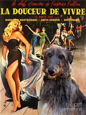 Scottish Dog Painting - Scottish Deerhound Art - La Dolce Vita Movie Poster by Sandra Sij