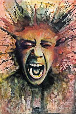Screaming Mixed Media - Scream by Michael  Volpicelli