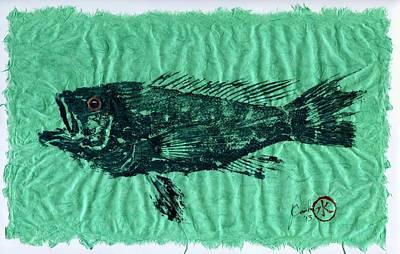 Sea Bass On Aegean Green Thai Unryu Paper Print by Jeffrey Canha