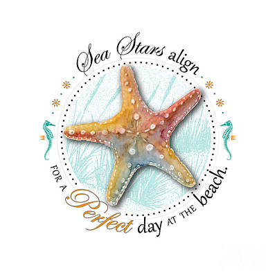 Sea Stars Align For A Perfect Day At The Beach Print by Amy Kirkpatrick