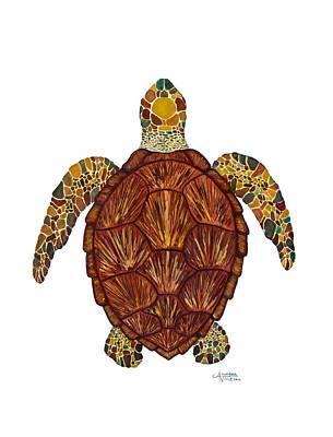 Ocean Turtle Painting - Sea Turtle Mosaic  by Alexandra Nicole Newton