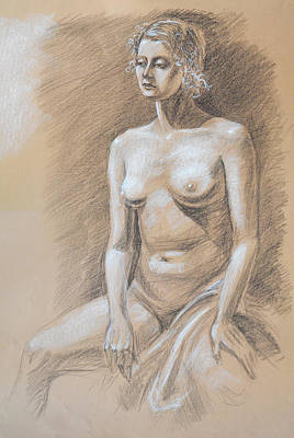 Abstract Forms Drawing - Seated Model Drawing  by Irina Sztukowski