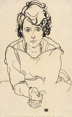 Self Portrait Drawing - Seated Woman by Celestial Images