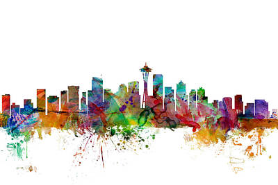 Washington Digital Art - Seattle Washington Skyline by Michael Tompsett