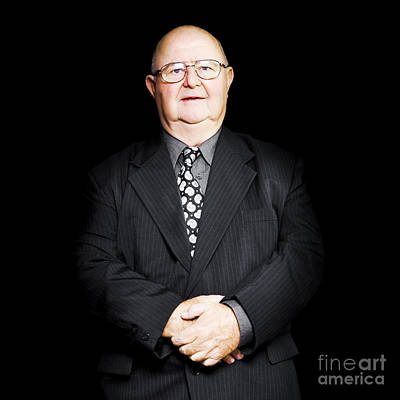 Senior Business Man Isolated On Black Background Print by Jorgo Photography - Wall Art Gallery