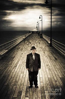 Wooden Platform Photograph - Senior Male Standing On A Pier Promenade by Jorgo Photography - Wall Art Gallery